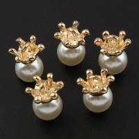 Zinklegierung Krone Anhänger, mit ABS-Kunststoff-Perlen, goldfarben plattiert, frei von Blei & Kadmium, 10x12mm, Bohrung:ca. 1.2mm, 20PCs/Tasche, verkauft von Tasche