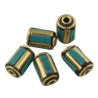 Indonesien Perlen, Zinklegierung, mit Indonesien & Harz, Zylinder, antike Bronzefarbe plattiert, frei von Blei & Kadmium, 8x13mm, Bohrung:ca. 8x13mm, verkauft von PC