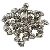 Verkupfertes Kunststoff-Perlen, Verkupferter Kunststoff, Herz, Platinfarbe platiniert, 5x6x4mm, Bohrung:ca. 1mm, 100PCs/Tasche, verkauft von Tasche