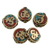 Indonesien Perlen, Zinklegierung, mit Indonesien, antike Bronzefarbe plattiert, mit OM-Symbol & für Frau, frei von Blei & Kadmium, 17x16x6mm, Bohrung:ca. 2mm, verkauft von PC