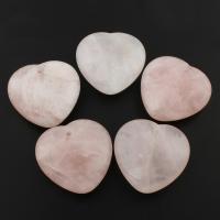 Natürlicher Quarz Anhänger, Rosenquarz, Herz, 45x45x5mm, Bohrung:ca. 1mm, 5PCs/Tasche, verkauft von Tasche