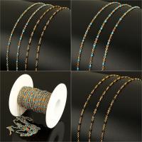 Edelstahl ovale Kette, mit Kunststoffspule & Harz, goldfarben plattiert, Oval-Kette, keine, 4x2x2mm, 2x1.5x0.4mm, 10m/Spule, verkauft von Spule