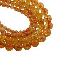 Natürlicher Citrin Perlen, Gelbquarz Perlen, rund, verschiedene Größen vorhanden, Bohrung:ca. 1mm, verkauft per ca. 15 ZollInch Strang