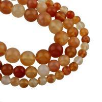 Natürliche Streifen Achat Perlen, rund, verschiedene Größen vorhanden, klare Orange, Bohrung:ca. 1mm, verkauft per ca. 15 ZollInch Strang