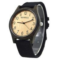 BEWELL® Uhrenkollektion, Segeltuch, mit Glas & Holz & Edelstahl, verschiedenen Materialien für die Wahl & einstellbar & für den Menschen, 54mm, Länge:ca. 8.5 ZollInch, verkauft von PC