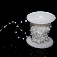 ABS-Kunststoff-Perlen Perle Seil, weiß, 4mm, ca. 75m/Spule, verkauft von Spule