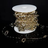 Acryl Perle Seil, goldfarben plattiert, 20x14mm, ca. 60m/Spule, verkauft von Spule