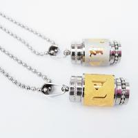 316 L Edelstahl Halskette, Zylinder, plattiert, buddhistischer Schmuck & om mani padme hum & unisex & Kugelkette, keine, 13.50x24mm, verkauft per ca. 22 ZollInch Strang