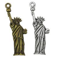 Zinklegierung Gebäude Anhänger, Lady Liberty, plattiert, keine, frei von Nickel, Blei & Kadmium, 17x48x3.50mm, Bohrung:ca. 2mm, ca. 200PCs/Tasche, verkauft von Tasche