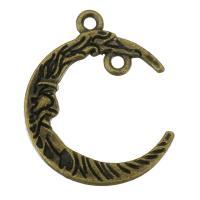Mond Zinklegierung Schmuckverbinder, antike Bronzefarbe plattiert, 1/1-Schleife, 21x26x3mm, Bohrung:ca. 1.5mm, 200PCs/Tasche, verkauft von Tasche