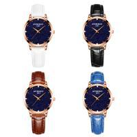 ONTHEEDGE®-Frauen-Schmuck-Uhren, Leder, mit Glas & Edelstahl, plattiert, einstellbar & für Frau, keine, 36x8mm, Länge:ca. 9 ZollInch, verkauft von PC