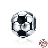 925 Sterlingsilber European Perlen, 925 Sterling Silber, Fussball, ohne troll & Emaille, 10x9mm, verkauft von PC