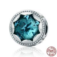 925 Sterling Silber European Perlen, mit Kristall, flache Runde, ohne troll & facettierte, 10x10mm, Bohrung:ca. 4.5-5mm, verkauft von PC