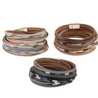 Kuhhaut Armband, mit Eisen, silberfarben plattiert, für Frau & mit Strass & Multi-Strang, keine, 20mm, verkauft per ca. 15 ZollInch Strang