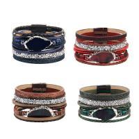 Kuhhaut Armband, mit Lava & Zinklegierung, silberfarben plattiert, für Frau & mit Strass & Multi-Strang, keine, 37mm, verkauft per ca. 8 ZollInch Strang