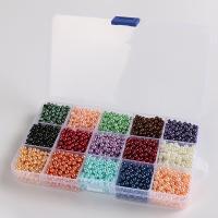 Mode Glasperlen, Glas, mit Kunststoff Kasten, rund, Spritzlackierung, gemischte Farben, 4mm, 173mm, Bohrung:ca. 1mm, 240PCs/Box, verkauft von Box