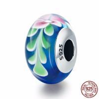Lampwork Perlen European Stil, Rondell, mit Blumenmuster & Sterling Silber single-Core ohne troll, 9x15mm, Bohrung:ca. 4.5-5mm, verkauft von PC