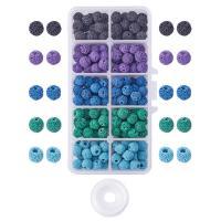 Natürliche Lava Perlen, mit Kunststoff Kasten, rund, gemischte Farben, 8mm, Bohrung:ca. 1mm, 300PCs/Box, verkauft von Box