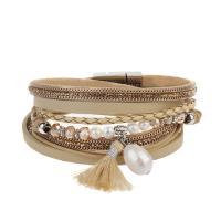 Kuhhaut Armband, mit Kunststoff Perlen & Zinklegierung, silberfarben plattiert, Armband  Bettelarmband & für Frau & Multi-Strang, keine, 16mm, verkauft per ca. 15 ZollInch Strang