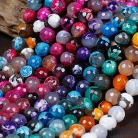 Feuerachat Perle, rund, verschiedene Größen vorhanden & facettierte, keine, Bohrung:ca. 1mm, verkauft per ca. 15 ZollInch Strang