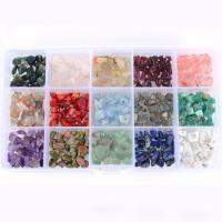 Mischedelstein Perlen, Edelstein, mit Kunststoff Kasten, gemischt, 5-15mm, 176x102x20mm, Bohrung:ca. 1mm, verkauft von Box