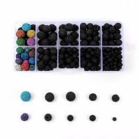 Natürliche Lava Perlen, mit Kunststoff Kasten, rund, gemischte Farben, 4-10mm, 132x72x23mm, Bohrung:ca. 1mm, 298PCs/Box, verkauft von Box