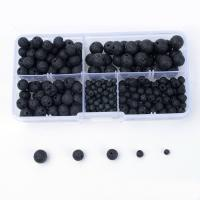 Natürliche Lava Perlen, mit Kunststoff Kasten, rund, schwarz, 4-12mm, 132x72x23mm, Bohrung:ca. 1mm, 270PCs/Box, verkauft von Box