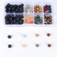 Lava Perle, mit Kunststoff Kasten & Edelstein, gemischt, 8mm, 132x72x23mm, Bohrung:ca. 1mm, 120PCs/Box, verkauft von Box