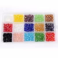 Kristall-Perlen, Kristall, mit Kunststoff Kasten, Rondell, facettierte, gemischte Farben, 6mm, 176x102x20mm, Bohrung:ca. 1mm, 700PCs/Box, verkauft von Box