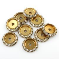 Messing Zwischenperlen, flache Runde, mit Strass, originale Farbe, frei von Blei & Kadmium, 20x4mm, Bohrung:ca. 2.5mm, 5PCs/Tasche, verkauft von Tasche