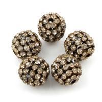 Strass Messing Perlen, rund, mit Strass, originale Farbe, frei von Blei & Kadmium, 18x19mm, Bohrung:ca. 3mm, 5PCs/Tasche, verkauft von Tasche