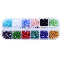 Doppelkegel Kristallperlen, Kristall, mit Kunststoff Kasten, facettierte, gemischte Farben, 4mm, Bohrung:ca. 1mm, ca. 720PCs/Box, verkauft von Box