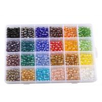 Rondell Kristallperlen, Kristall, mit Kunststoff Kasten, facettierte, gemischte Farben, 6mm, 195x135x23mm, Bohrung:ca. 1mm, ca. 1200PCs/Box, verkauft von Box