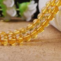 Knistern Quarz Perlen, rund, natürlich, verschiedene Größen vorhanden, gelb, verkauft per ca. 15.7 ZollInch Strang