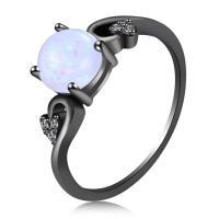 Messing Fingerring, mit Opal, metallschwarz plattiert, verschiedene Größen vorhanden & für Frau & mit Strass, frei von Nickel, Blei & Kadmium, verkauft von PC