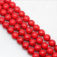 Türkis Perlen, Synthetische Türkis, rund, natürlich, verschiedene Größen vorhanden, rot, verkauft per ca. 15.7 ZollInch Strang
