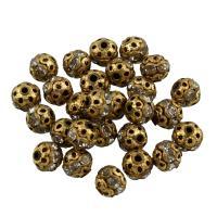 Strass Messing Perlen, rund, mit Strass & hohl, originale Farbe, frei von Blei & Kadmium, 6mm, Bohrung:ca. 1mm, 27PCs/Tasche, verkauft von Tasche