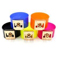 PVC Kunststoff Armband, mit Zinklegierung, goldfarben plattiert, einstellbar & für Frau, keine, 35mm, Länge:ca. 7.8 ZollInch, 10SträngeStrang/Menge, verkauft von Menge