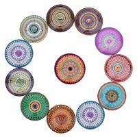 Glas Cabochons, flache Runde, Zeit Edelstein Schmuck & gemischtes Muster & verschiedene Größen vorhanden & flache Rückseite, 20PCs/Tasche, verkauft von Tasche