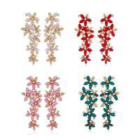 Zinklegierung Ohrring, mit Katzenauge, Blume, goldfarben plattiert, für Frau & facettierte & mit Strass, keine, 25x65mm, verkauft von Paar