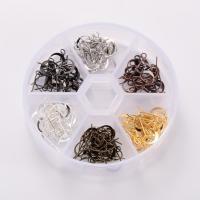 Eisen Ohrhaken, mit Kunststoff Kasten, plattiert, gemischte Farben, frei von Blei & Kadmium, 108x127x22mm, ca. 120PCs/Box, verkauft von Box
