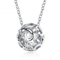 925 Sterling Silber Halskette, mit kubischer Zirkonia, mit Verlängerungskettchen von 1.59lnch, Fussball, platiniert, Oval-Kette & für Frau & hohl, 9x9mm, verkauft per ca. 16.1 ZollInch Strang