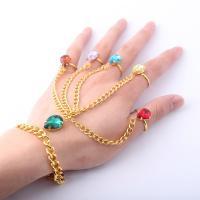 Zink-Legierung Armband-Ring, Zinklegierung, goldfarben plattiert, unisex & einstellbar & mit Strass, frei von Blei & Kadmium, Größe:6-8, verkauft per ca. 7-8 ZollInch Strang