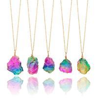 Eisen Halskette, mit Naturstein, goldfarben plattiert, unisex & Oval-Kette, 4mm, verkauft per ca. 22 Strang