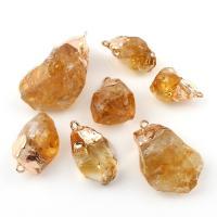 Gelbquarz Perlen Anhänger, mit Messing, Klumpen, goldfarben plattiert, druzy Stil & verschiedene Größen vorhanden, Bohrung:ca. 2mm, 5PCs/Tasche, verkauft von Tasche