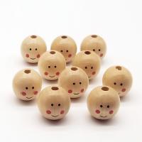 Holzperlen, Holz, rund, verschiedene Muster für Wahl, originale Farbe, 22-25mm, Bohrung:ca. 1mm, 20PCs/Tasche, verkauft von Tasche