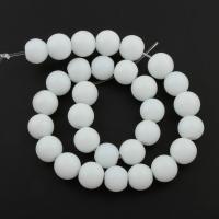 Weiße Porzellan Perlen, rund, 10mm, Bohrung:ca. 1mm, Länge:ca. 13 ZollInch, 10SträngeStrang/Tasche, ca. 33PCs/Strang, verkauft von Tasche