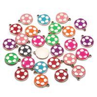 Acryl Anhänger, flache Runde, goldfarben plattiert, Emaille, gemischte Farben, 23mm, Bohrung:ca. 1mm, 10PCs/Tasche, verkauft von Tasche