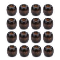 Holz Großes Loch Perlen, Trommel, originale Farbe, 11x12mm, Bohrung:ca. 5mm, 100PCs/Tasche, verkauft von Tasche