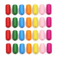 Holzperlen, Holz, Zylinder, gemischte Farben, 10.5x21mm, Bohrung:ca. 3mm, 30PCs/Tasche, verkauft von Tasche